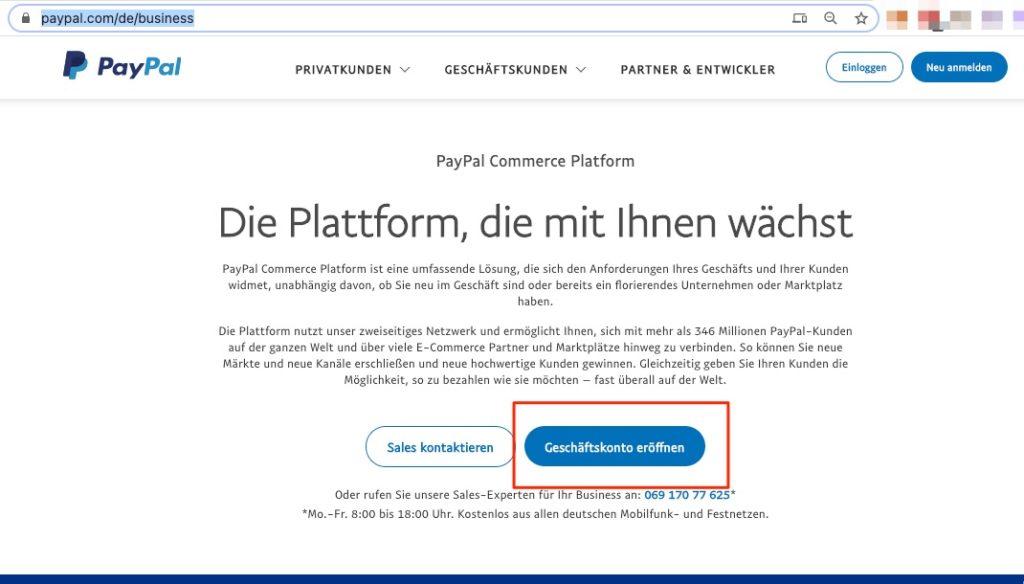 PayPal Geschäftskonto einrichten
