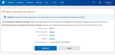 PayPal API-Daten
