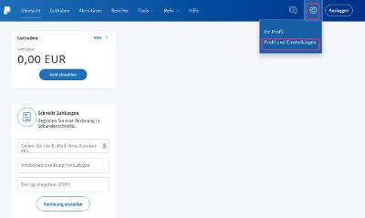 PayPal Profil Einstellungen