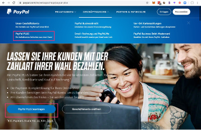 PayPal Geschäftskonto Menue