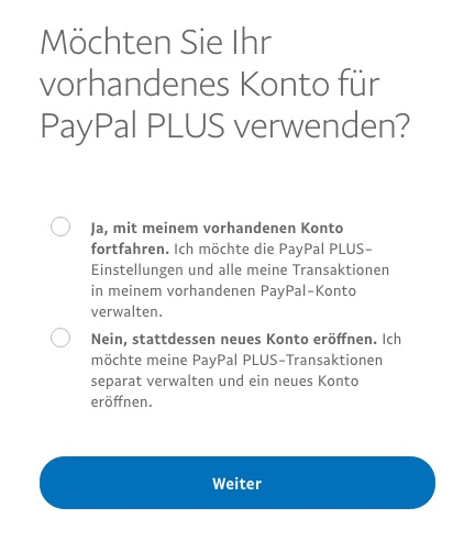 Use existing PayPal account