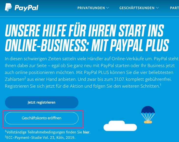 Open a PayPal Plus Business Account