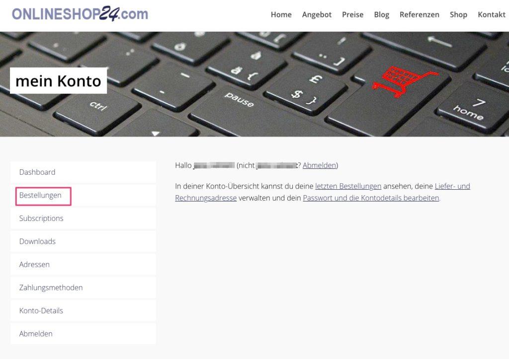 Onlineshop24 Customer Dashboard
