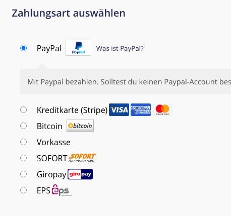 Onlineshop24 payment methods
