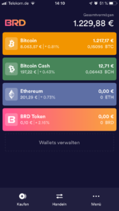 BRD Bitcoin Wallet Startscreen