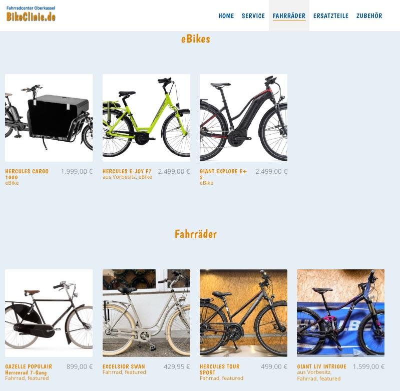BikeClinic Online Katalog