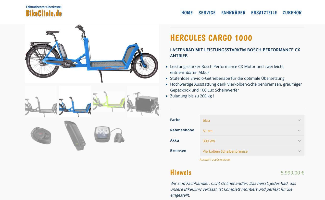 BikeClinic Düsseldorf Produktseite