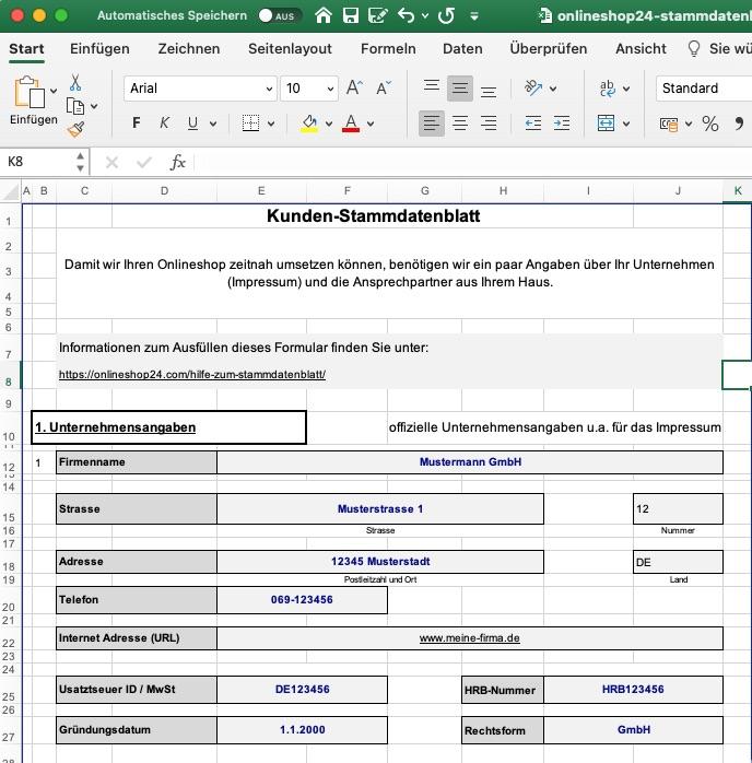 Hilfe Kunden stammdatenblatt